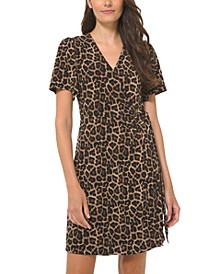 Plus Size Animal-Print O-Ring Faux-Wrap Dress