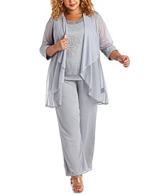 Plus Size Embellished Blouse, Jacket & Pants