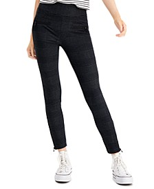 Juniors' High-Waist Plaid Zipper-Detail Ponte Leggings