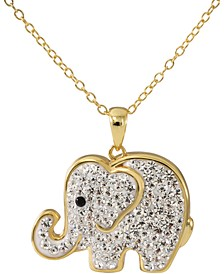 """Crystal Elephant 18"""" Pendant Necklace in 14k Gold-Plated Sterling Silver, Created for Macy's"""