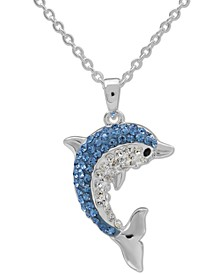 """Crystal Dolphin 18"""" Pendant Necklace in Sterling Silver, Created for Macy's"""