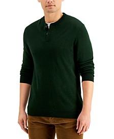 Men's Merino Solid Henley Sweater, Created for Macy's