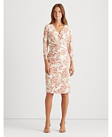 Floral Jersey Surplice Dress, Regular & Petite Sizes