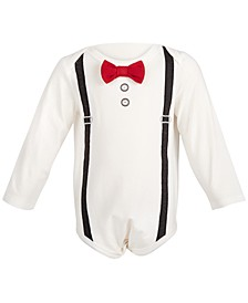 Baby Boys Bow Tie & Suspenders Bodysuit, Created for Macy's