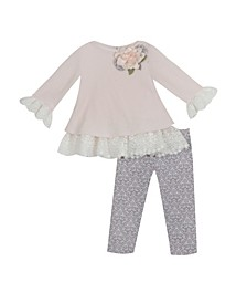 Baby Girls Sweater Set with Ruffle Detail To Printed Legging