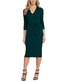Belted V-Neck Sweater Dress