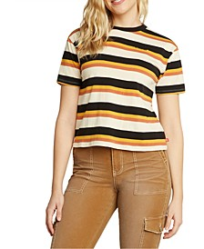 Juniors' Striped Cotton T-Shirt