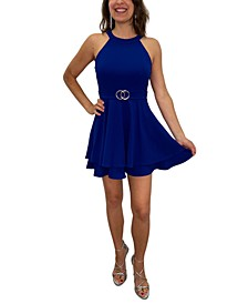 Juniors' Buckle-Waist Double-Ruffle Halter Dress
