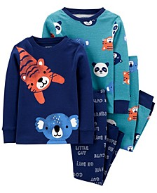 Toddler Boy 4-Piece Animals Snug Fit Cotton PJs