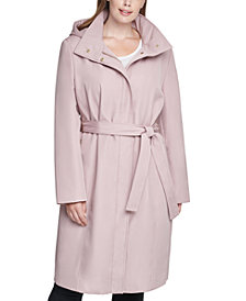 Calvin Klein Plus Size Hooded Belted Raincoat