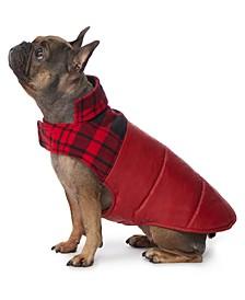 Plaid Fleece-Blocked Dog Coat