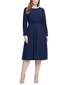 Plus Size Long-Sleeve A-Line Dress