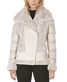 Faux-Shearling Moto Puffer Coat, Created for Macy's