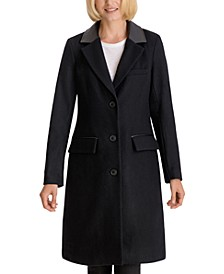 Faux-Leather-Collar Walker Coat