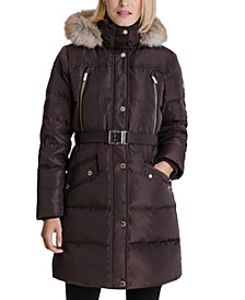 Belted Faux-Fur-Trim Hooded Puffer Coat, Created for Macy's