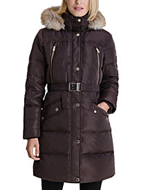 MICHAEL Michael Kors Belted Faux-Fur-Trim Hooded Puffer Coat, Created for Macy's