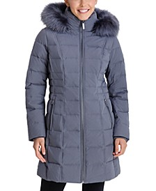 Petite Faux-Fur Trim Hooded Puffer Coat, Created for Macy's