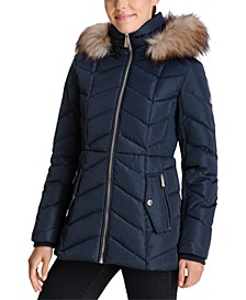 Faux-Fur-Trim Hooded Down Puffer Coat, Created for Macy's