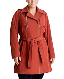 Plus Size Hooded Belted Trench Coat, Created for Macy's