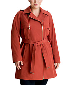 Michael Michael Kors Plus Size Hooded Belted Trench Coat, Created for Macy's