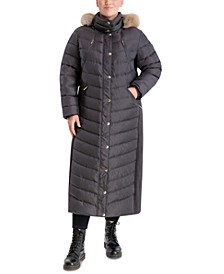 Plus Size Maxi Faux-Fur Trim Hooded Puffer Coat, Created for Macy's