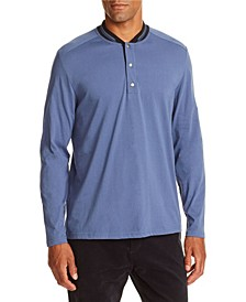 Tallia Men's Slim-Fit Dark Blue Long Sleeve Henley and a Free Face Mask With Purchase