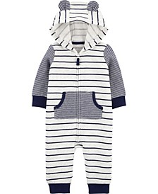 Baby Boy Striped Zip-Up Fleece Jumpsuit