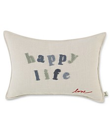 "14"" L x 20"" W Happy Life Embroidered Lumbar Pillow"