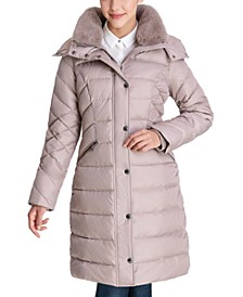 Faux-Fur Collar Hooded Puffer Coat