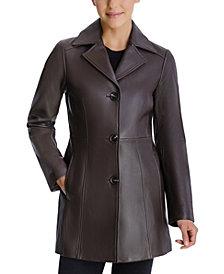 Anne Klein Petite Button-Down Leather Coat