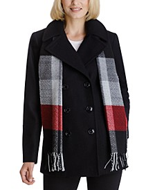 Petite Double-Breasted Plaid-Scarf Peacoat