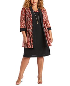 Plus Size Printed Jacket & Necklace Dress Set