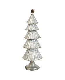 "19.25"" Multi-Tier Galvanized Metal Cone Tree on Base"