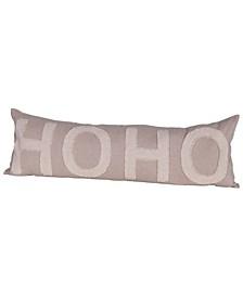 "Ho Ho Appliqued Cotton Chambray Lumbar Pillow, 36"" x 12"""