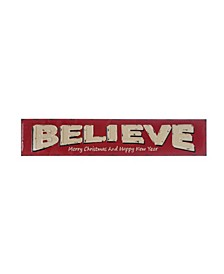 "Embossed ""Believe - Merry Christmas and Happy New Year"" Enameled Metal Wall Decor"