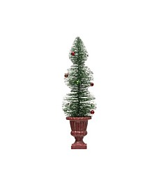 """23"""" Bottle Brush Tree with Ornaments In Resin Urn with Glitter"""
