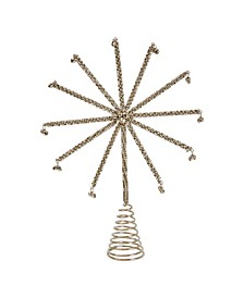 Metal Star Tree Topper Covered In Jingle Bells