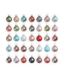 """1"""" Glass Ball Ornaments Boxed Set of 54 Pieces"""