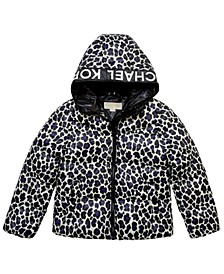 Big Girls Leopard Print Puffer Jacket