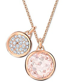 "Rose Gold-Tone Pavé Coin & Crystal Pendant Necklace, 15-5/8"" + 2"" extender"