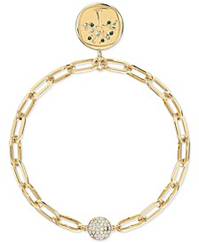Gold-Tone Crystal Tree/LOYAL Earth Medallion Magnetic Link Bracelet