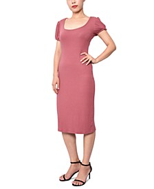 Juniors' Puff-Sleeve Ribbed Dress