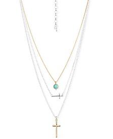 "Two-Tone Stone & Cross Three-Layer 16-1/2"" Pendant Necklace"