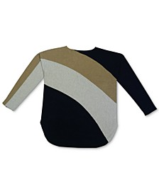 INC Plus Size Colorblocked Shirttail-Hem Sweater, Created for Macy's
