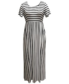 Plus Size Seamed-Waist Printed Maxi Dress, Created for Macy's