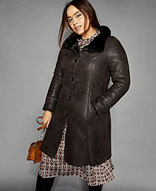 Plus Size Shearling Lamb & Mink-Fur-Trim Coat