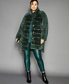 Plus Size Shearling Lamb & Rabbit-Fur Coat