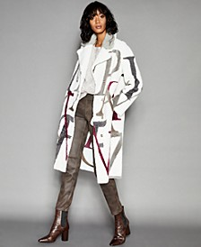 Letter-Print Shearling Lamb & Mink-Fur-Trim Coat