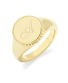Charlie Initial Signet Gold-Plated Ring