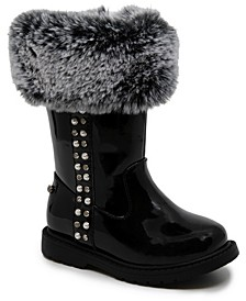 Toddler Girls Side Zipper Bootie with Collar